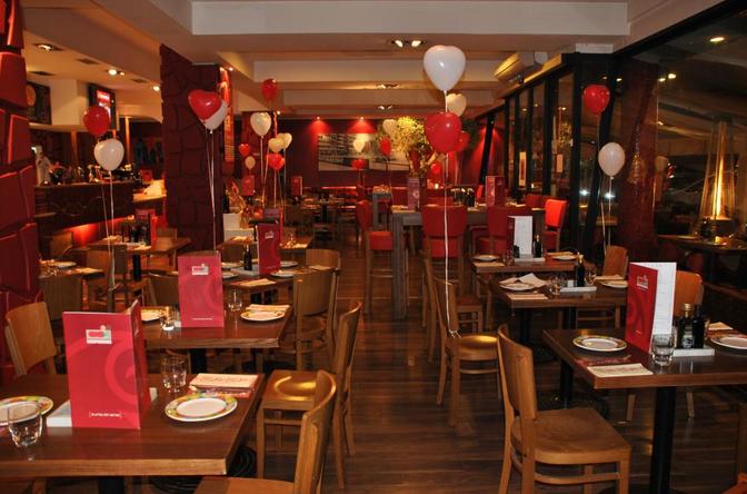 ristorante, rosso, arredamento