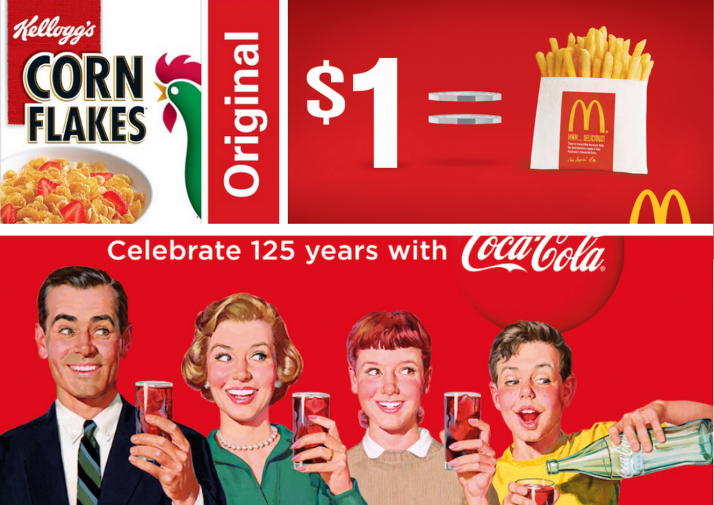 pubblicità, mcdonalds, kelloggs, coca-cola