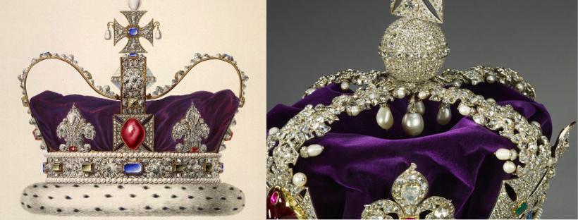 corona, imperiale, stoffa, viola