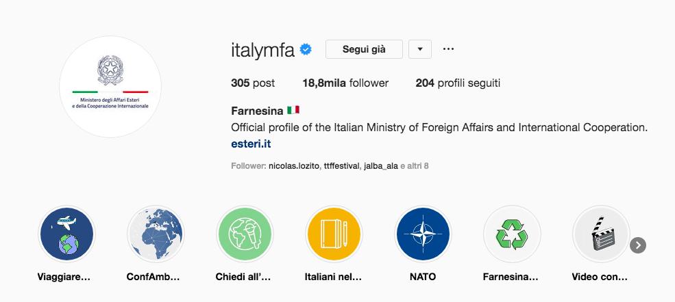 ministero affari esteri su instagram